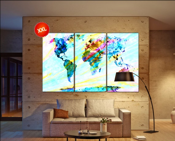 Abstract world map  print on canvas wall art Abstract world map artwork large world map Print home office decoration