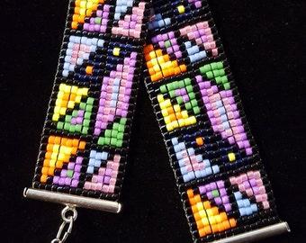 Bright and bold patchwork bracelet