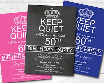 surprise 50th birthday party invitation. 50th birthday 60th birthday 70th birthday invite. surprise party keep calm and party AB045