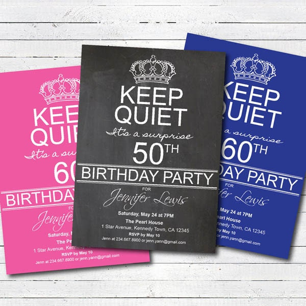 Surprise 50th birthday party invitation 50th birthday 60th zoom filmwisefo Gallery