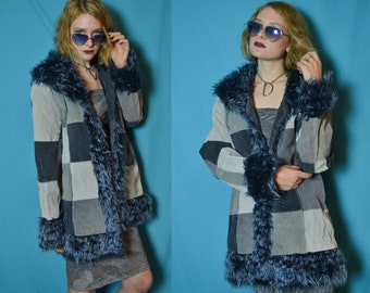 90s club kid blue patchwork jacket with faux fur collar and cuffs