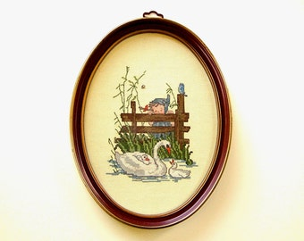 Charming Old Fashioned Oval Framed Cross Stitch Mother Goose & Babies Swimming in Pond Cute Little Girl Blue Bird Cottage Chic Wall Hanging