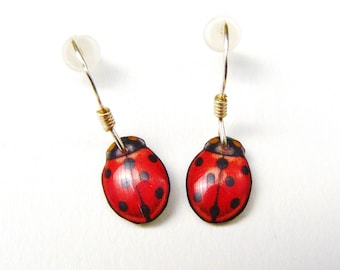 "Earrings for children ""ladybugs"" 925 sterling silver and resin"