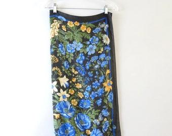 Vintage Floral Scarf | 1970s Blue Floral Scarf