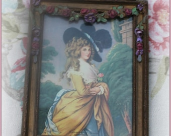 RESERVED FOR L     Barbola Trumeau mirror ~ Gesso ROSES~ Victorian woman Hat w/plumes ~So pretty