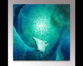 Manta Ray Painting | Nautical Wall Decor | Sea Life Art | Manta Ray Art Print | Sea Creature | Stingray Art | Ocean Art | Beach Home Decor