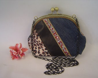 Clutch purse. Frame purse. Denim purse. Clutch purse with chain. Hand made.