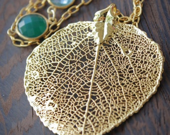 Gold Dipped Aspen Leaf Necklace with Green Onyx, Teal Quartz - Long Necklace