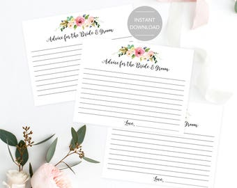 Wedding Advice Cards, Advice for the Bride and Groom Cards, Printable Wedding Advice Cards, Printable Advice Cards, Instant Download File