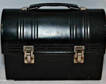 Vintage Mid-Century Industrial Aladdin Industries Black Domed Lunchbox, Well Loved, Home Decor