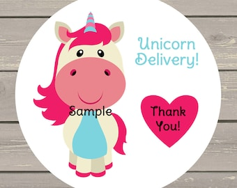 120 White Round Printed Unicorn Delivery Customer Thank You Stickers Seals Can be used on your Lula packages