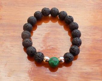 Malachite and Black Lava Stone Bracelet