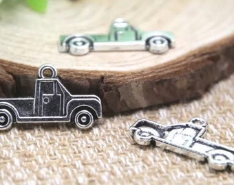 8 Truck Charms Antique Silver Tone