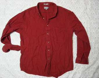 Clearance Vintage Men's Lord and Taylor Red Black Gingham Plaid Flannel Buttonup Shirt Long Sleeve Large