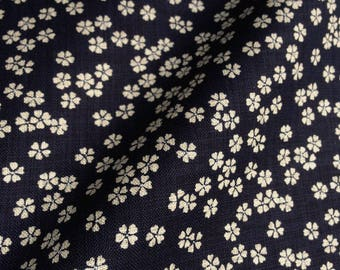 Japanese traditional pattern beige cherry blossoms, Blue Navy cotton 110 x 50 (155)