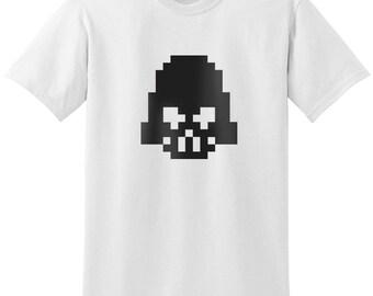 Star Wars Inspired Darth Vader Head 8-bit Design Black Gray Grey T-Shirt T-Shirts Tops Women Men Boys Girls Ladies Unisex Fit