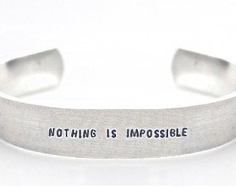 bracelet- inspirational bracelet- nothing is impossible- motivational- inspirational jewelry- inspirational- motivational bracelet