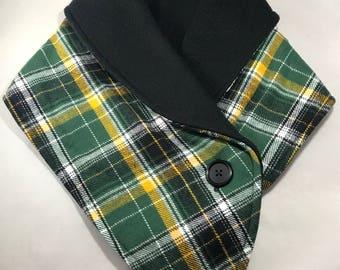 Fleece neckwarmer - Green & Yellow Plaid