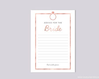 Printable Advice for the Bride, Faux Rose Gold Foil Bridal Shower Game, Wedding Shower Advice Card, Couple's Shower, Modern Minimalist