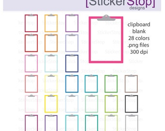 Blank Clipboard Rainbow Clipart 28 colors, PNG Digital Clipart - Instant download - clipboard notes notebook paper commercial use