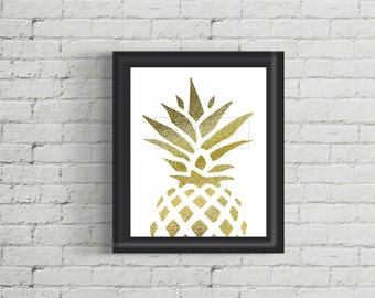 Printable Pineapple Gold Foil