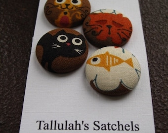 25% off SALEWearable Sew On Fabric Covered Buttons - Size 36 or  7/8 inches  Cats