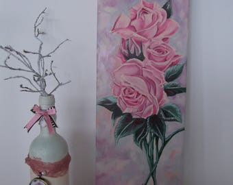 Acrylics On Canvas.   20x60    ''Pink Bouquet'