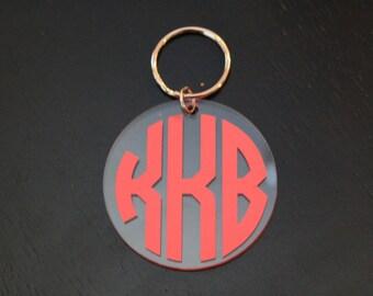Custom Circle Monogram Keychain