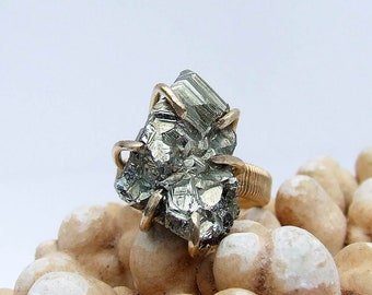 Pyrite Ring, small cluster midi, raw stone pinky ring size 3.5