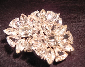 Vintage Brooch Eisenberg Ice with Three Layers of Clear Colored Crystals