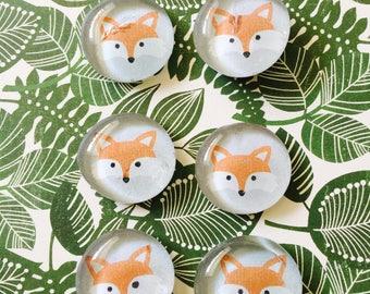 Fox magnets, magnets, glass magnets, glass pebble magnets, fall magnets, fridge magnets, cute gift, cheap gift, party favor, fox decor