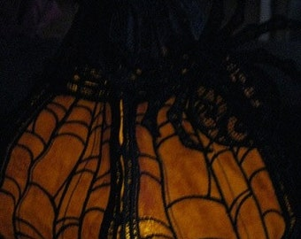 Spider Web Lace Pumpkin - Great with a battery operated tea light