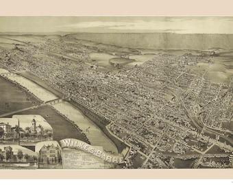 Wilkes-Barre Pennsylvania -1889 - Birds Eye View Reprint