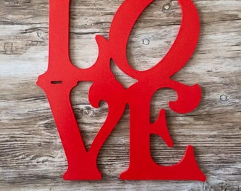 Love Painted Wooden Heart Wood Love Letters Sign Valentine's Day Door Wreath Decoration Valentines Day Door Decor