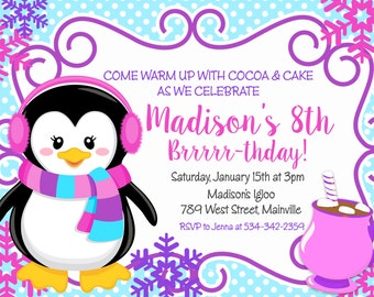 Penguin Birthday Invitation, Girl Winter Onederland Party, Cocoa - Digital or Printed