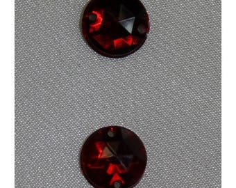 rhinestone round-11 mm - Red