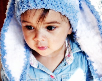 6 to 12m Boy Blue Baby Hat Stripe Bunny Hat Blue Prop Crochet Blue Bunny Ear Baby Hat Bunny Beanie Stripe Prop  Crochet Baby Gift