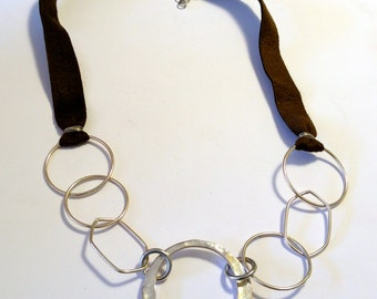Silver and Brown Leather Necklace,