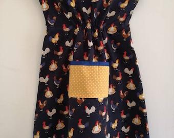 Navy Chicken Smock Dress