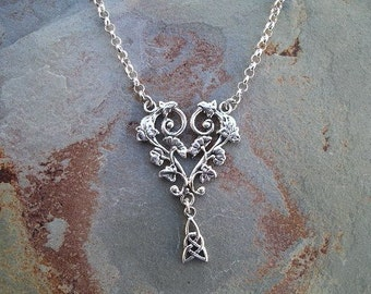 Flowers and Lace Necklace in Sterling Silver RF346