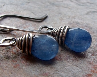 Kyanite Sterling Silver Earrings - Kyanite Teardrop Briolettes on Handformed Sterling Silver Earwires