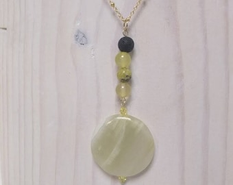 Essential Oil Diffuser Necklace of  an Agate Medallion with Quartz, Turquoise and Lava Rock Beads