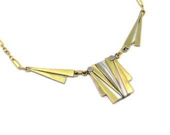 Minimalist Art Deco Necklace  16 inches Yellow Gold and White Gold Filled