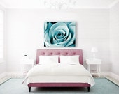 Teal Wall Art, Blue Canvas Art, Bedroom Wall Art, Flower Photography on Canvas