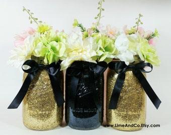 Mason Jar Wedding Centerpieces,  Black and Gold Centerpieces, Birthday Party Decor, Graduation Party Decorations, 50th Birthday, Set of 3