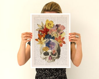Flowers on skull Poster, anatomical art, Skull anatomy art, Wall art, anatomy art, Giclee poster, wall art, SKA016PA3