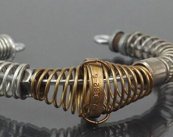 Steampunk Jewelry- Industrial Bracelet, Silver & Brass Cuff Bracelet, Hardware Jewelry, Cyberpunk Industrial Jewelry, Steampunk Bracelet