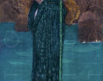 ENVIOUS CIRCE Poisoning the SEA. Waterhouse Painting. Pre - Raphaelite Digital Download. Vintage Print Greek Goddess Wall Art.