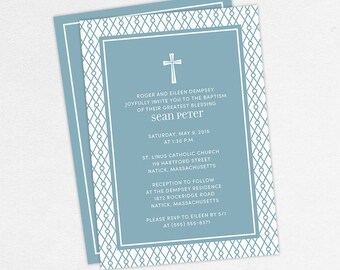 Baptism Invitation, Christening Invitation, Boy Baptism, Neutral Baptism, Printable Baptism Invitation, Printed, PDF, Modern, Blue, Sean