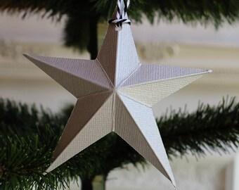 dimensional star Christmas ornaments - holiday ornaments - Christmas decor - silver ornaments - paper barn star - holiday decorations - xmas